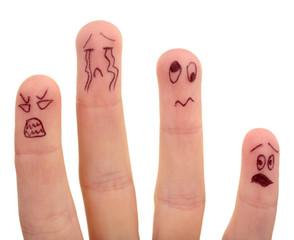 Emotional fingers isolated on white