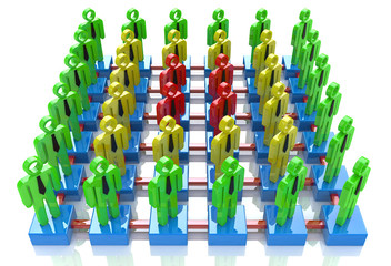 People linked together, Different color community, Network