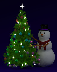 Festive Christmas tree and snowman