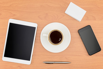 Office desk, Working on a Wooden Table with tablet