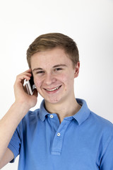 Teenager talking on smartphone