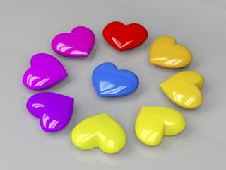 Colorful shiny hearts