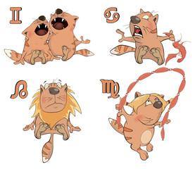 Set of Zodiac symbols with cats. Isolated on white. Cartoon