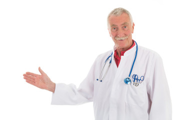 Physician presenting something on white background