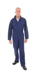 man in blue overall
