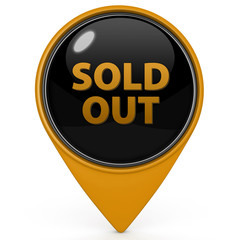 Sold out pointer icon on white background