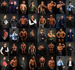 Photo mosaic of active business and sport people