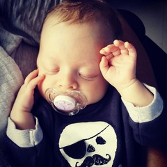 Pirate baby boy with soother