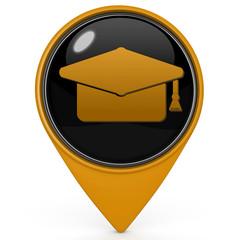 Graduation pointer icon on white background