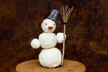 Snowman with broom in hand