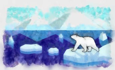 drawing paint on paper a polar landscape