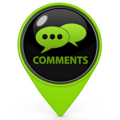Comments now pointer icon on white background