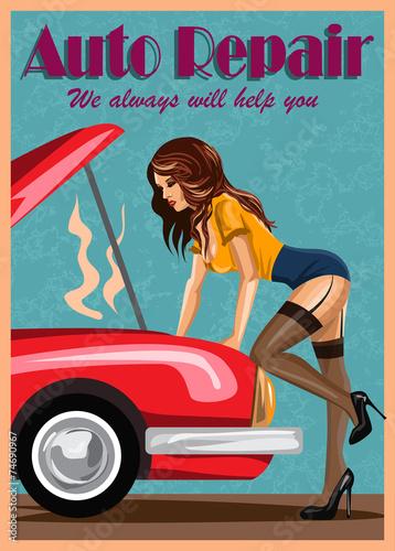 kobieta-w-ponczochach-naprawia-czerwonego-samochod-styl-retro