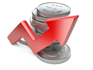 Financial success concept. Red arrow and coins