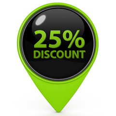 Discount 25 pointer icon on white background