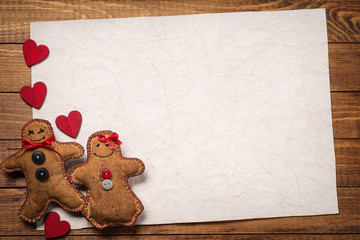 Textile toys in the shape of gingerbread on Valentine's Day. Spa