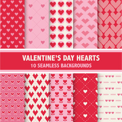 Valentine's Day Heart Patterns - 10 Seamless Backgrounds