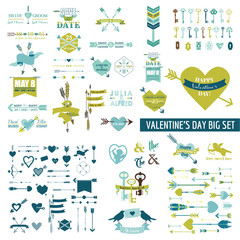 Huge Valentine's Day Set - over 100 elements - Hearts, Arrows