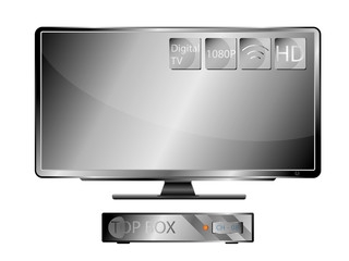 Television Widescreen and Top Box