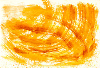 Abstract yellow stroke from watercolor
