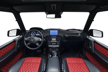 Interior of car. Black cockpit with red seats
