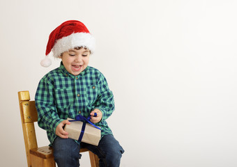 boy with a Christmas present