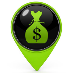Dollar money bag pointer icon on white background