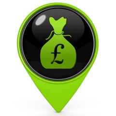 Pound money bag pointer icon on white background
