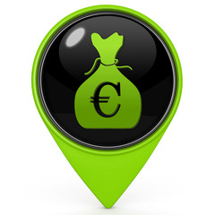 Euro money bag pointer icon on white background