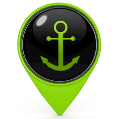 Anchor pointer icon on white background