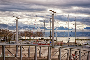 Quay of Geneva lake and Motblanc view  in Lausanne