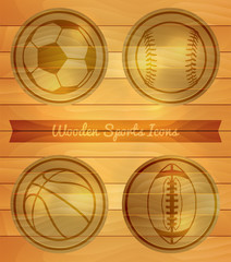Wooden Sports Icons