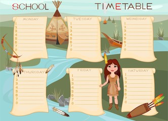 School timetable with Indian girl