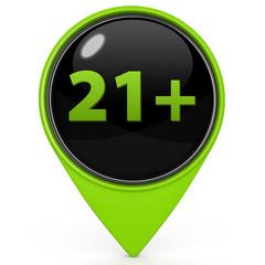 21+ pointer icon on white background