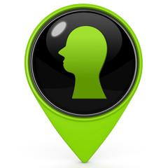 Head silhoulette pointer icon on white background