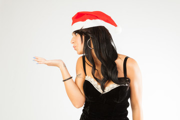 Christmas, brunette with Santa hat