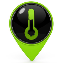 Temperature pointer icon on white background