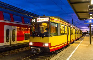 Tram-train at Karlsruhe railway station - Germany