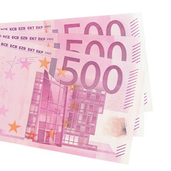 Five hundred euro banknotes.