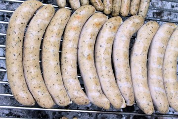 Typical german frying sausages  grilled on a grill