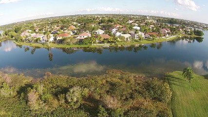 Waterfront residential community in Florida seen from above