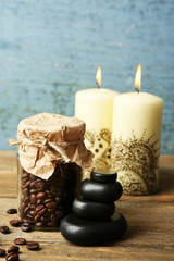 Beautiful spa composition with decorative Indian candles,