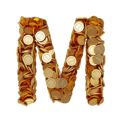 Alphabet letter M with golden coins isolated on white background
