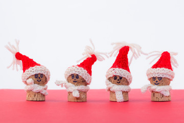 Sympathetic corks with Christmas hat to toast the new year