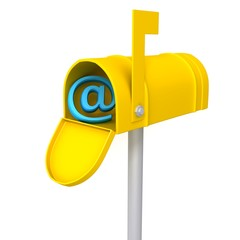 Yellow mailbox with e-mail sign