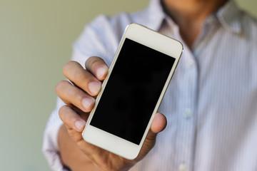 man show his smart phone