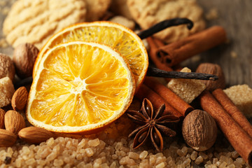 Christmas spices, nuts and baking ingredients, close-up