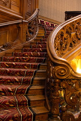wooden twisting carving staircase