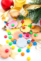 Colorful Christmas cookies and candies