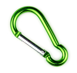Macro of green carabiner hook with spring loaded gate